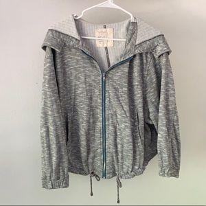 Free people cropped zip up hooded sweatshirt